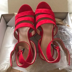Brand new Madewell red suede heels size 7